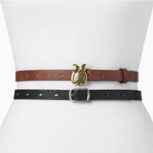 5/25🍒 Brass Owl Vegan Leather Belt Bundle